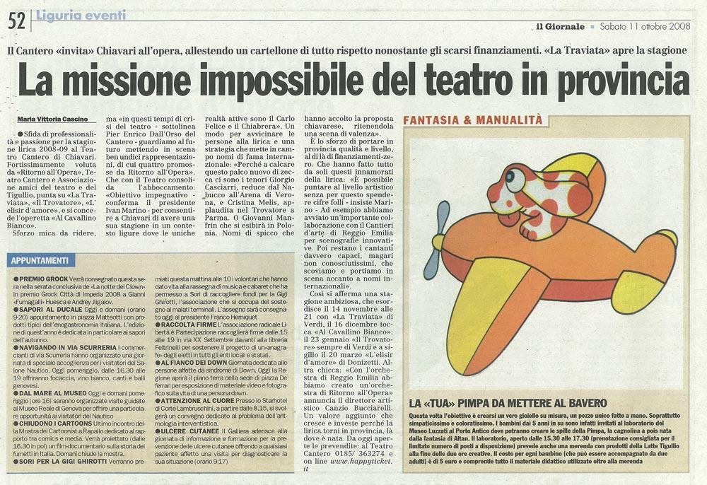 11.10.2008 – IL GIORNALE – Presentazione Stagione Lirica 2008/'09