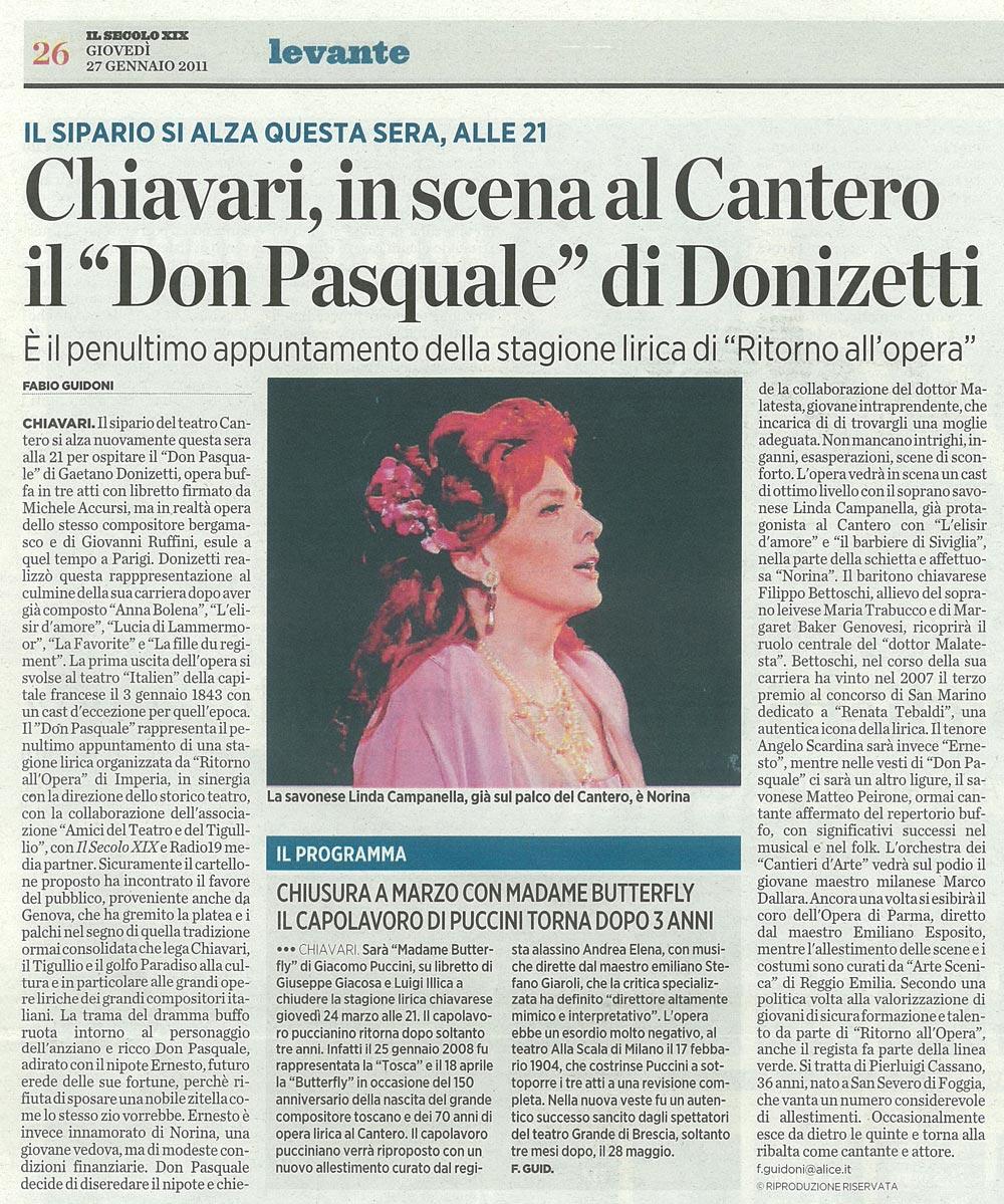 27.01.2011 – IL SECOLO XIX – Don Pasquale