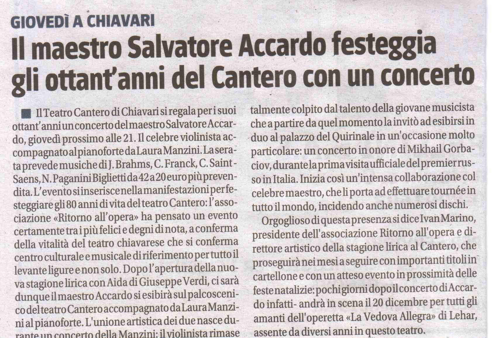 13.12.2011 – IL GIORNALE – Salvatore Accardo in Concerto