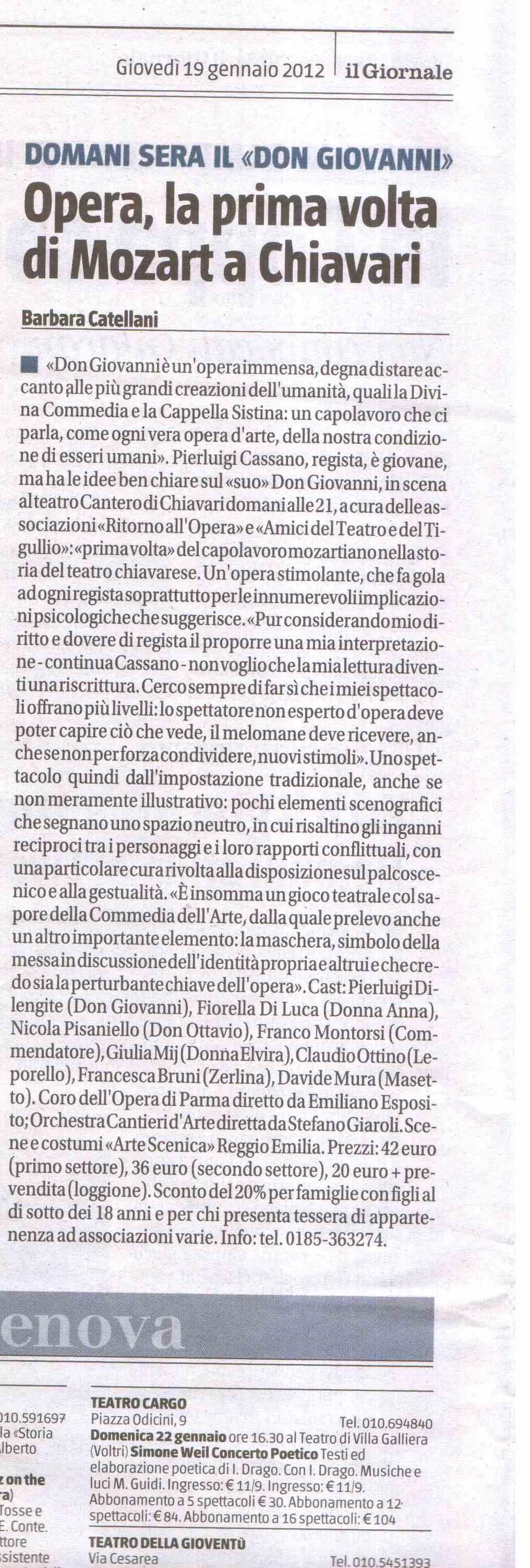 19.01.2012 – IL GIORNALE – Don Giovanni