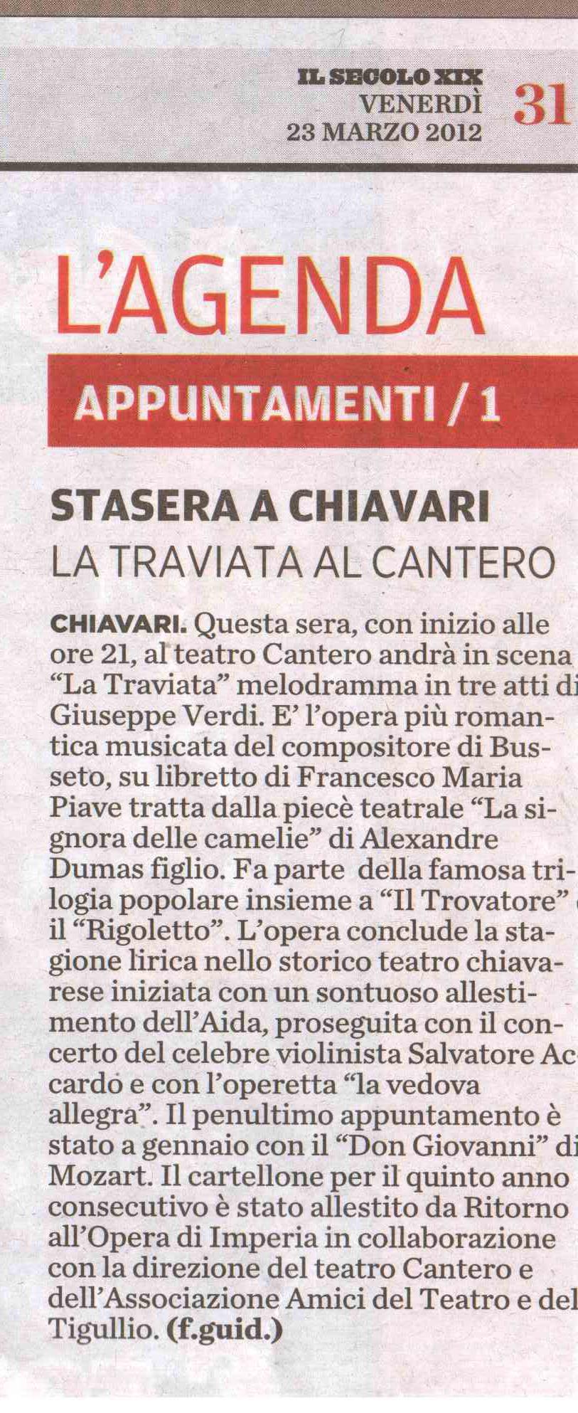 23.03.2012 – IL SECOLO XIX – La Traviata