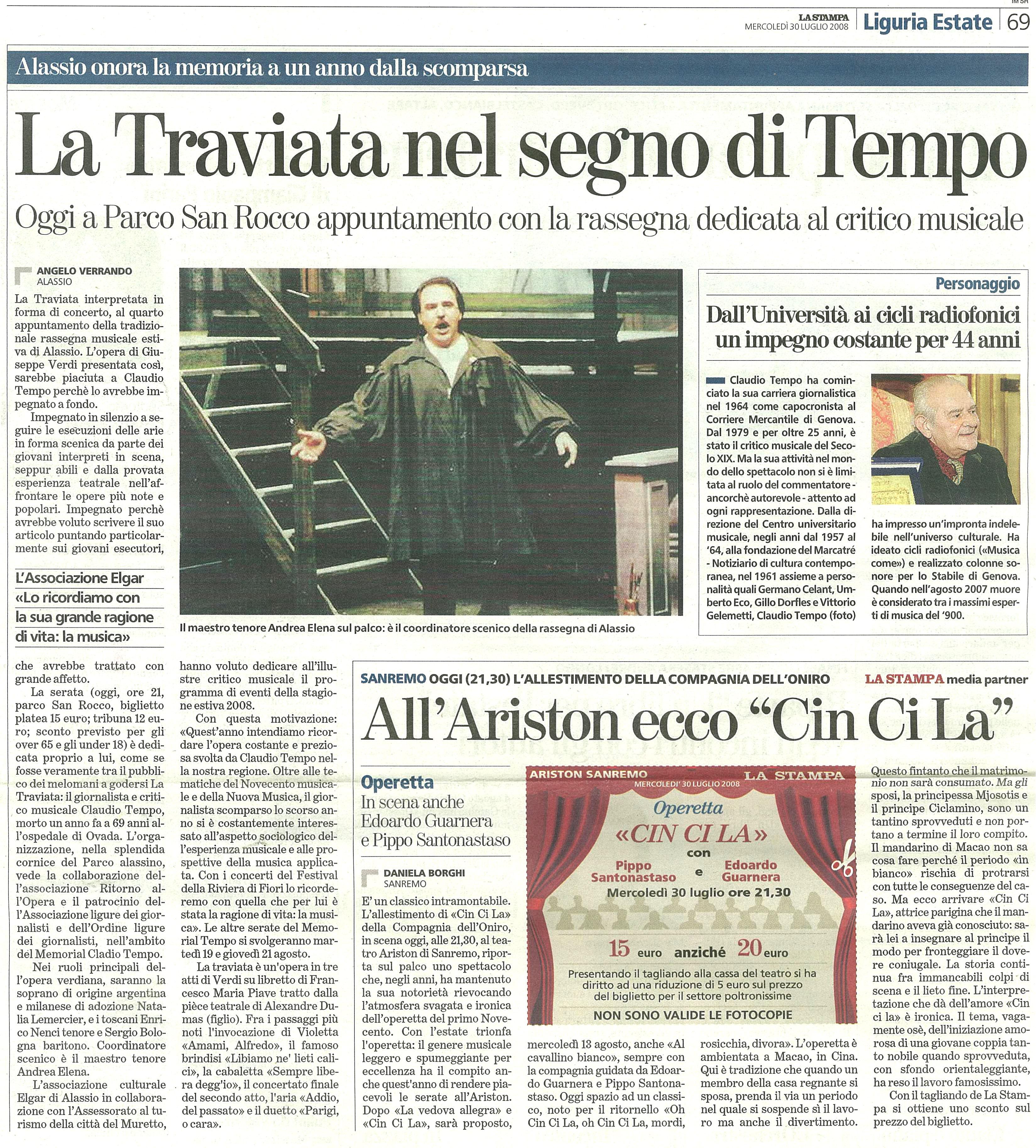 30.07.2008 – LA STAMPA – La Traviata Alassio