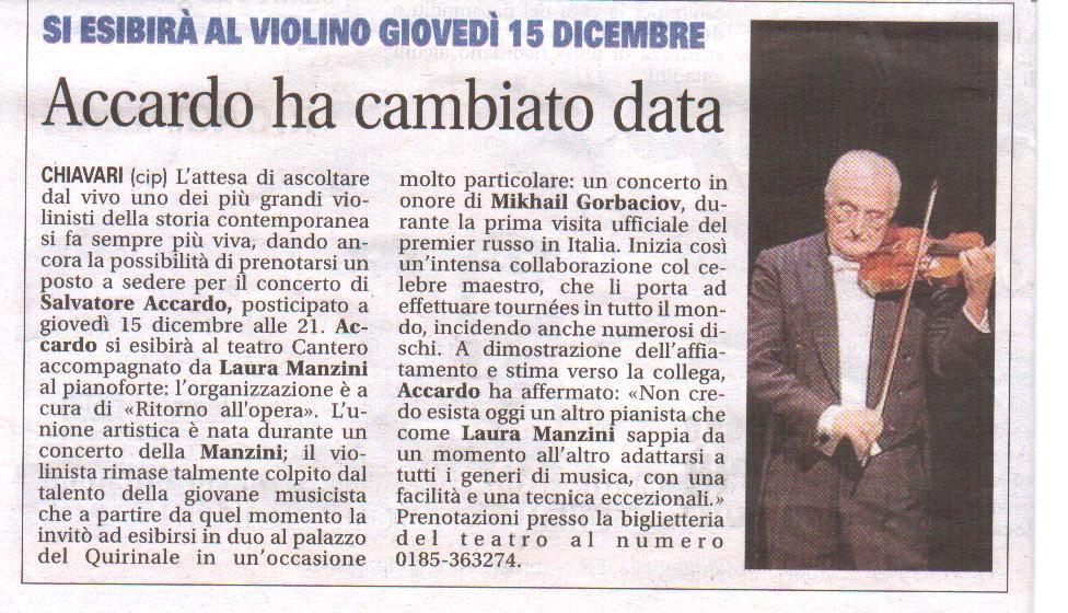 02.12.2011 – IL NUOVO LEVANTE – Salvatore Accardo in Concerto