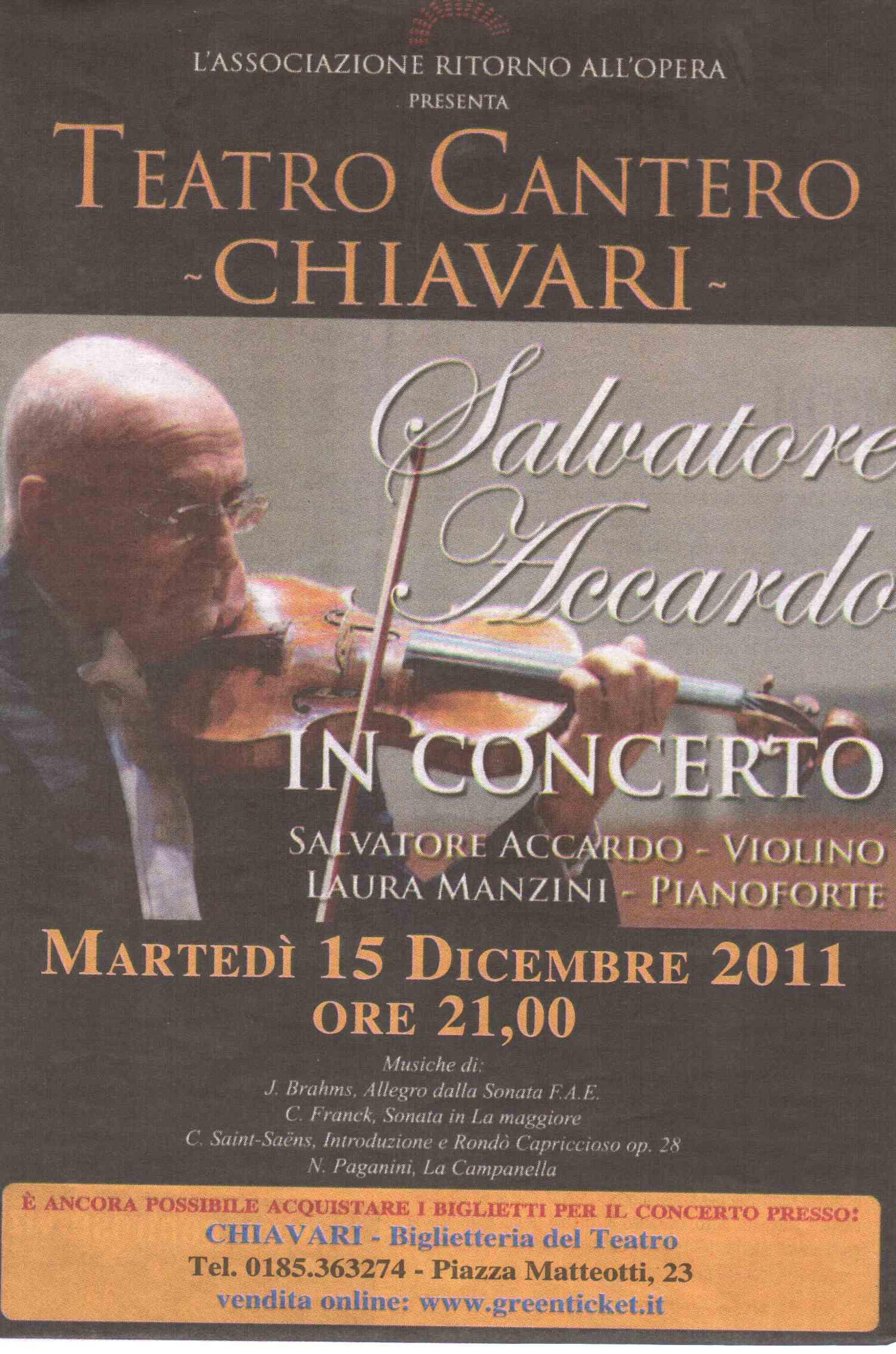 08.12.2011 – IL NUOVO LEVANTE – Salvatore Accardo in Concerto