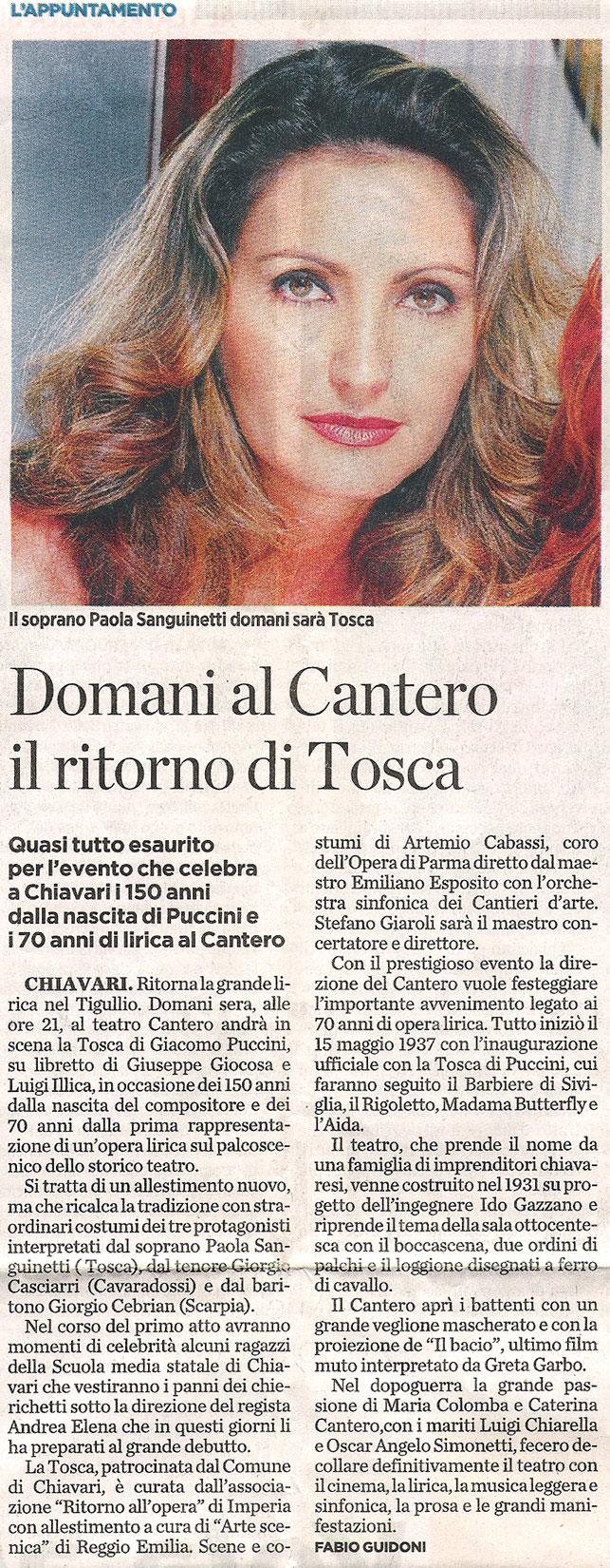 24.01.2008 – IL SECOLO XIX – Tosca