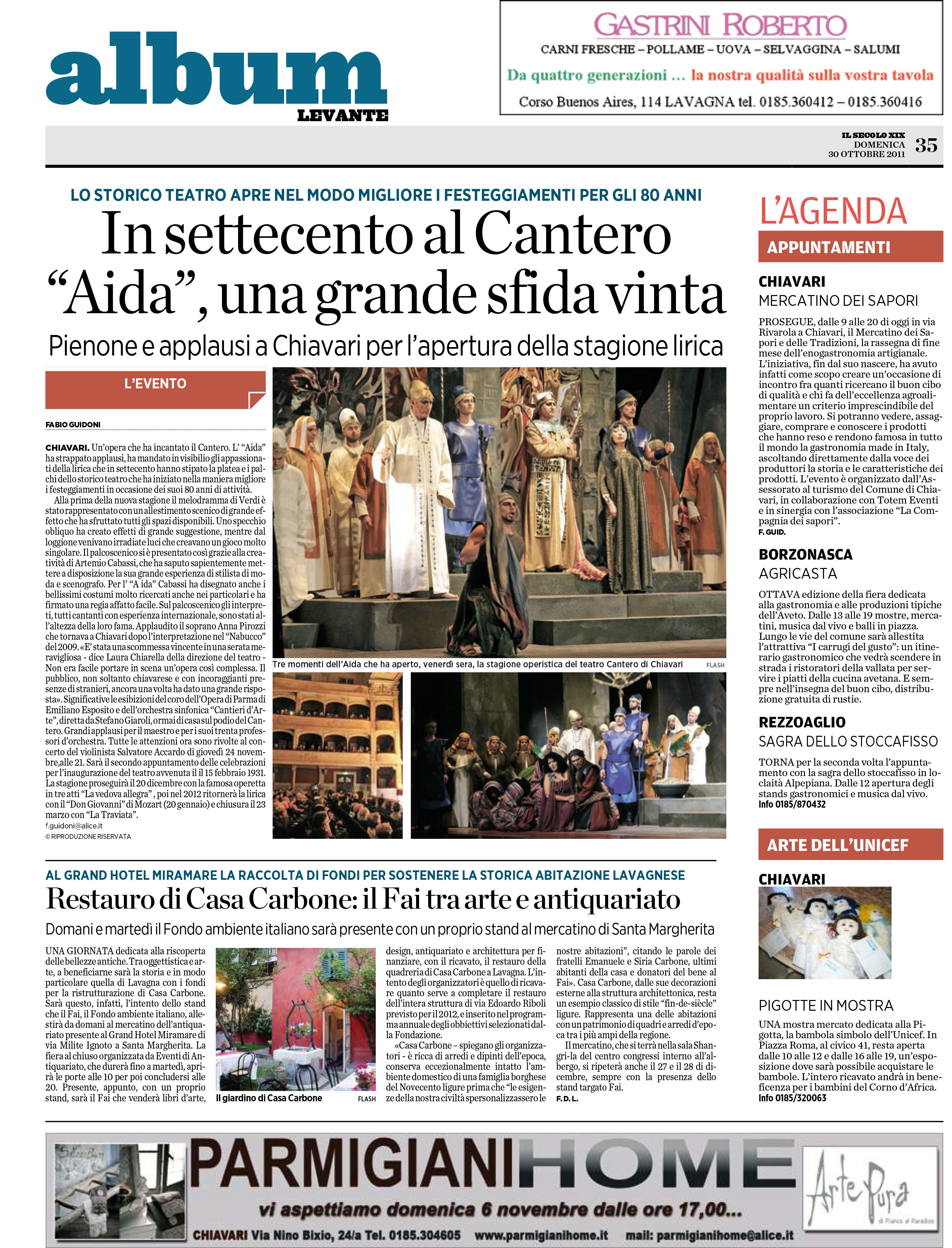 30.10.2011 – IL SECOLO XIX – Aida