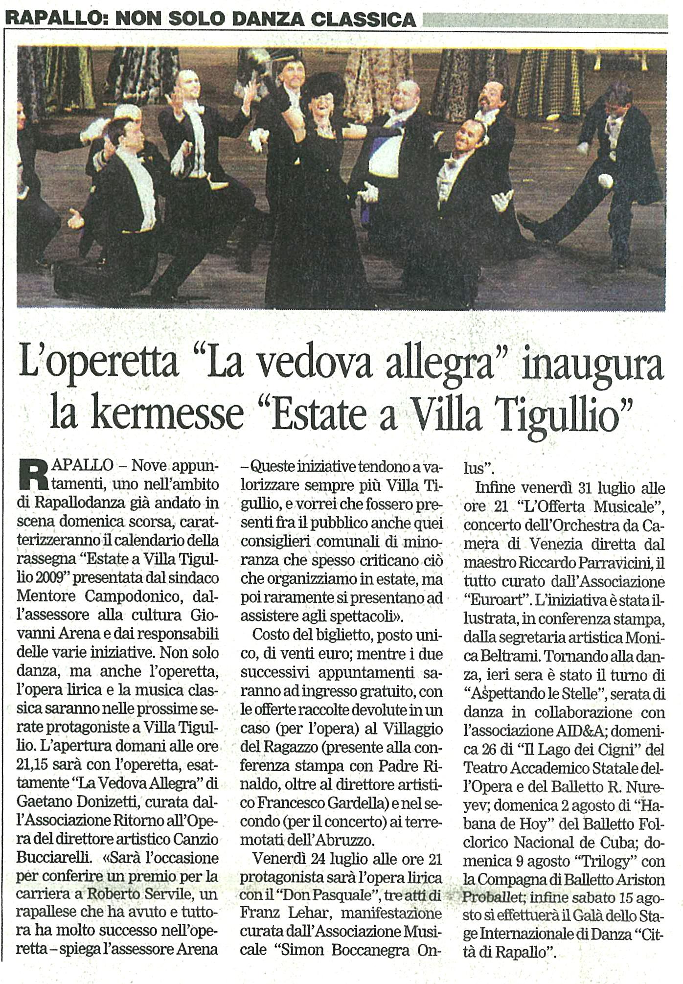 20.07.2009 – CORRIERE MERCANTILE – La Vedova Allegra Rapallo