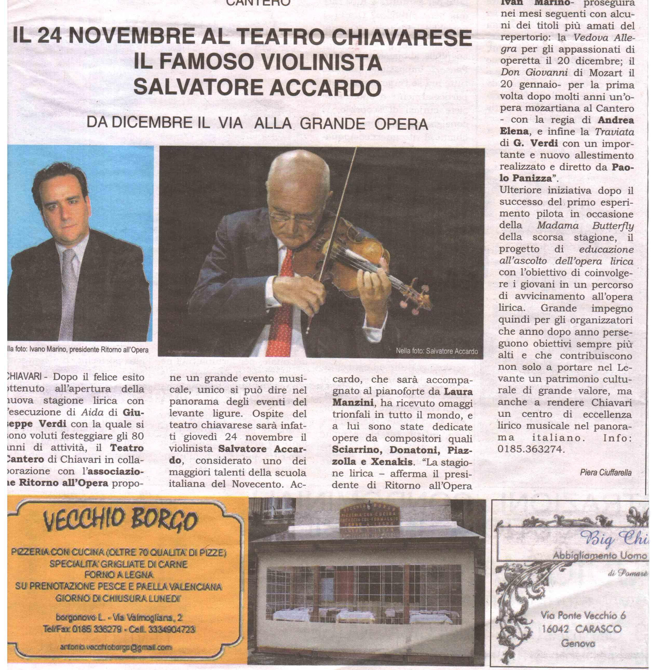 05.11.2011 – FONTANABUONA – Salvatore Accardo in Concerto
