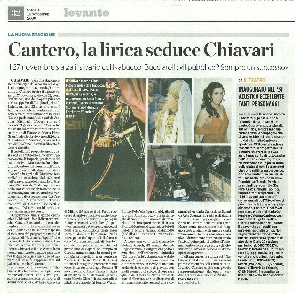 14.11.2009 – IL SECOLO XIX – Nabucco