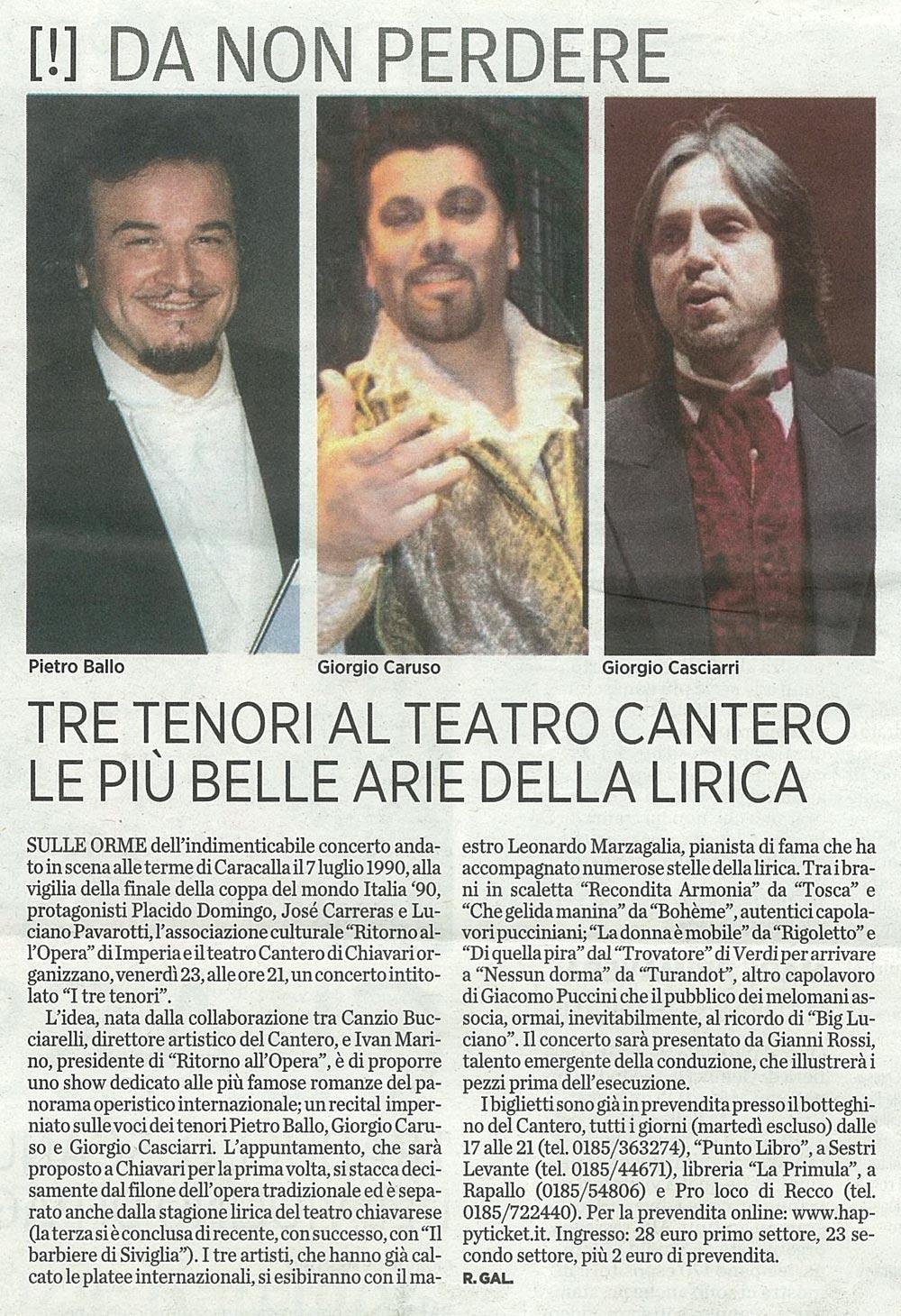 """20.04.2010 – IL SECOLO XIX – Concerto de """"I Tre Tenori"""""""