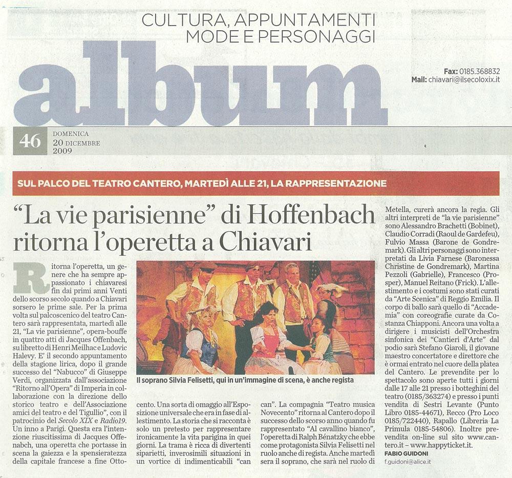 20.12.2009 – IL SECOLO XIX – La Vie Parisienne