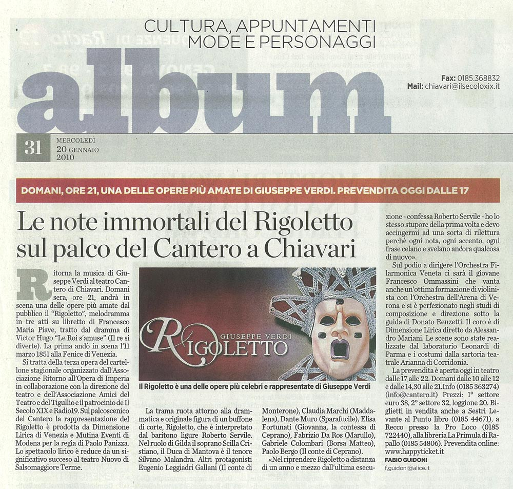 20.01.2010 – IL SECOLO XIX – Rigoletto