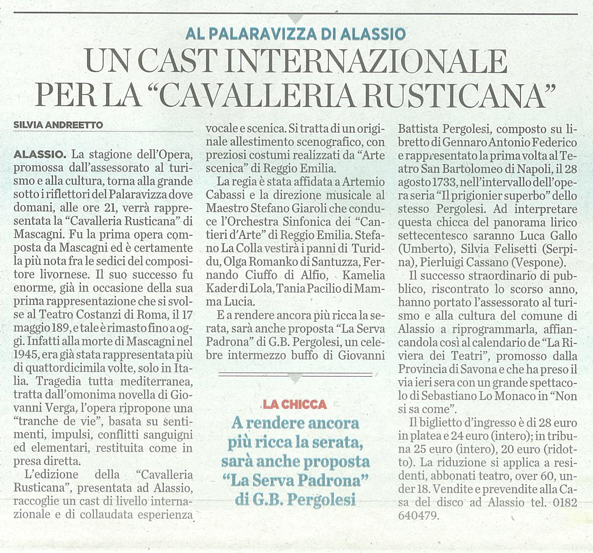 20.11.2010 – IL SECOLO XIX – Cavalleria Rusticana (Alassio)