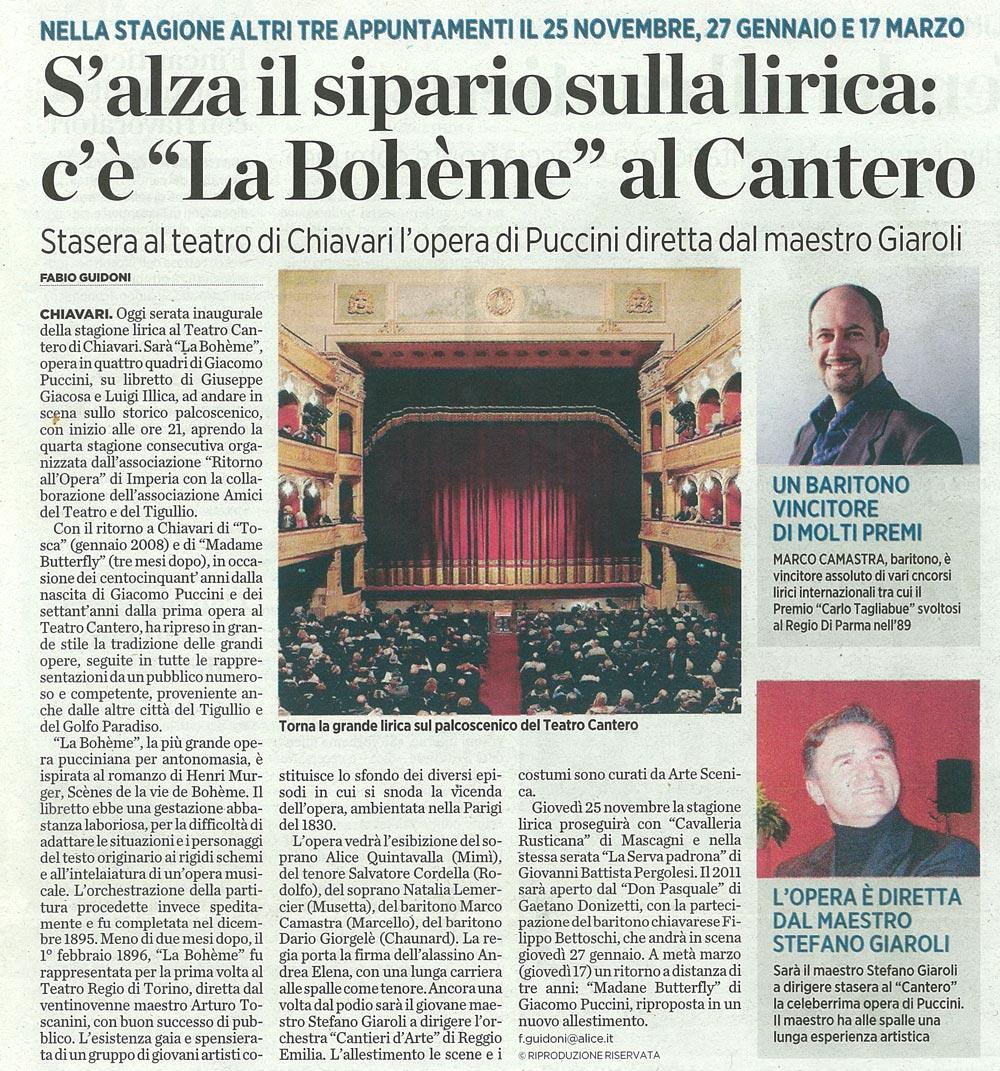 22.10.2010 – IL SECOLO XIX – La Bohème