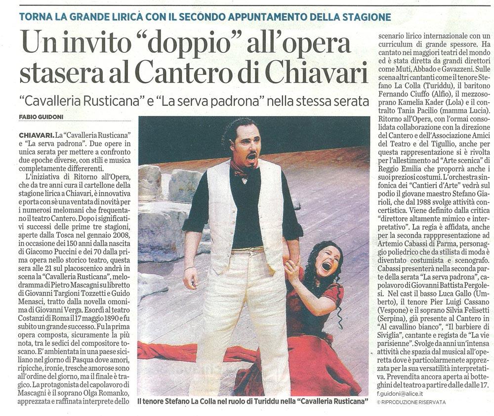 25.11.2010 – IL SECOLO XIX – Cavalleria Rusticana e La Serva Padrona