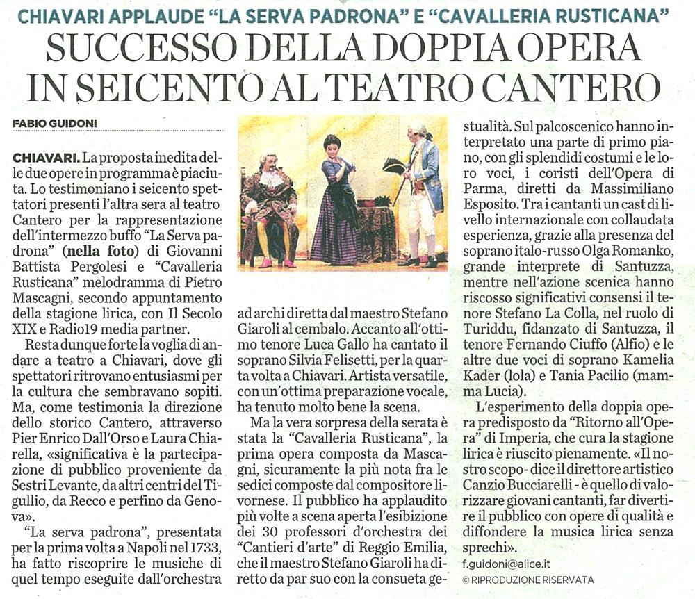 26.11.2010 – IL SECOLO XIX – Cavalleria Rusticana e La Serva Padrona