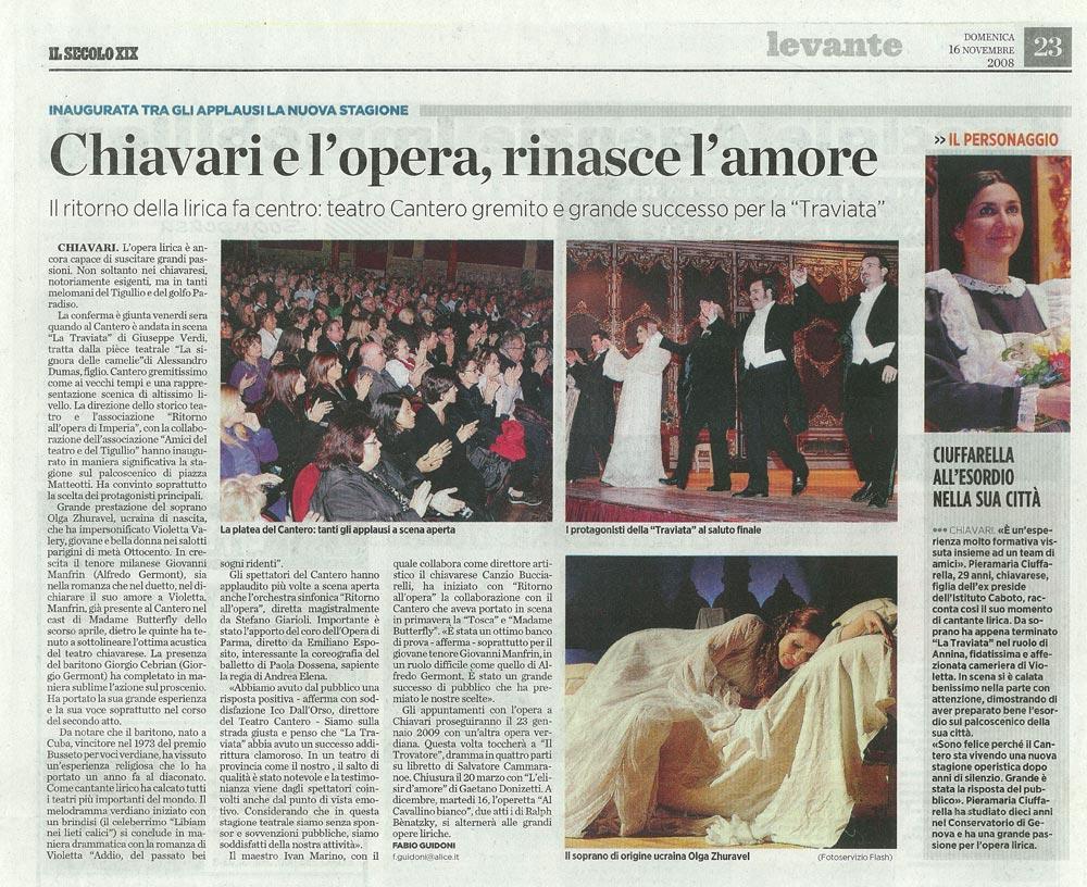 16.11.2008 – IL SECOLO XIX – La Traviata