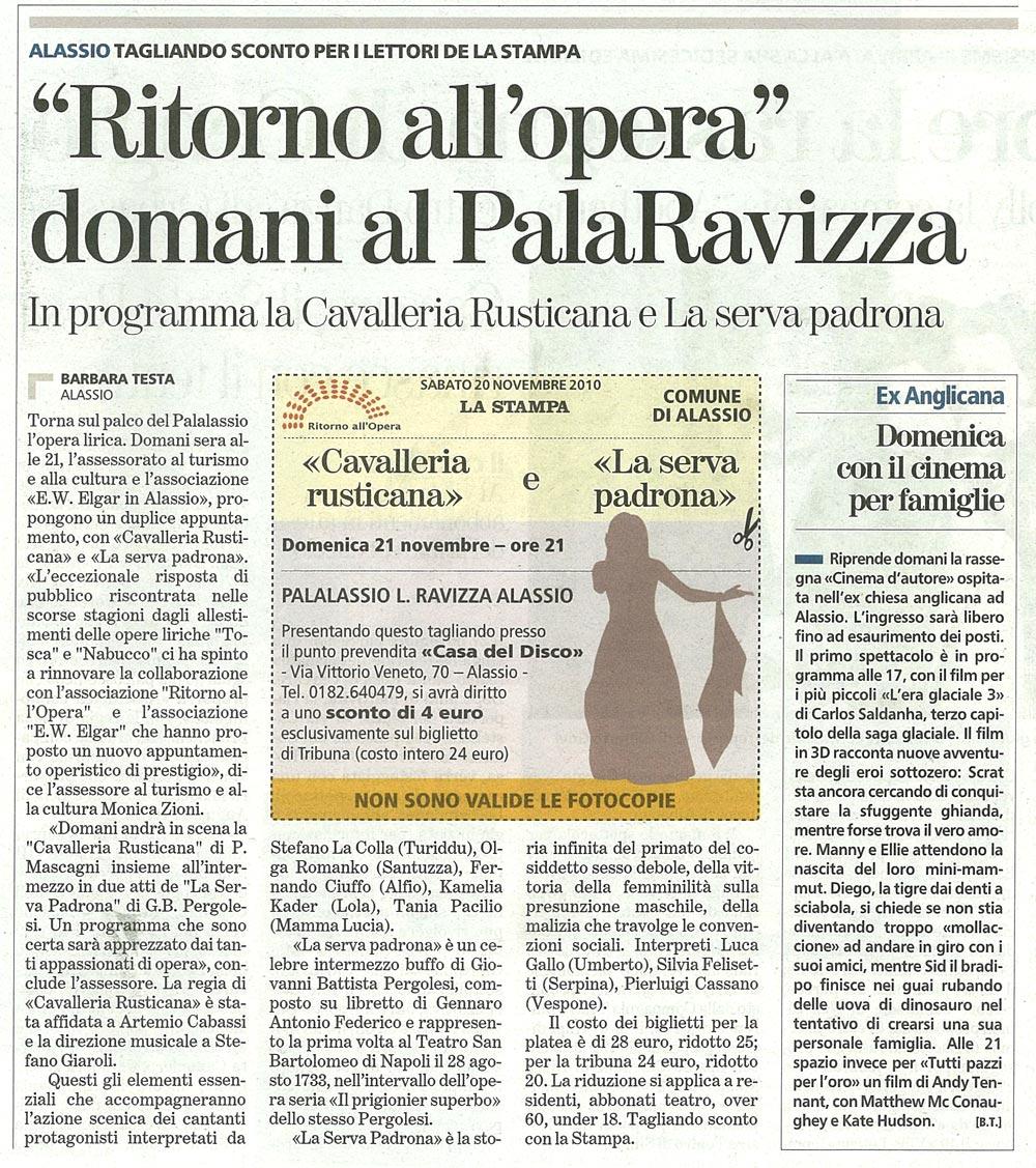 20.11.2010 – LA STAMPA – Cavalleria Rusticana (Alassio)