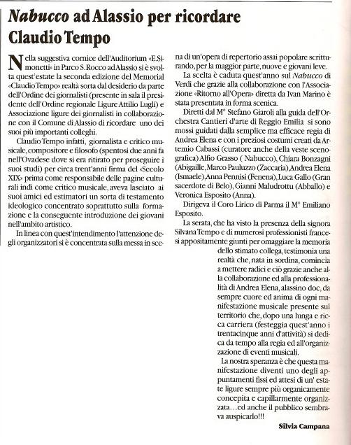 Ottobre 2009 – Articolo sul giornale L'OPERA n. 241