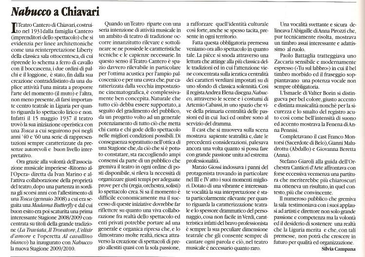 Febbraio 2010 – Articolo sul giornale L'OPERA n. 244