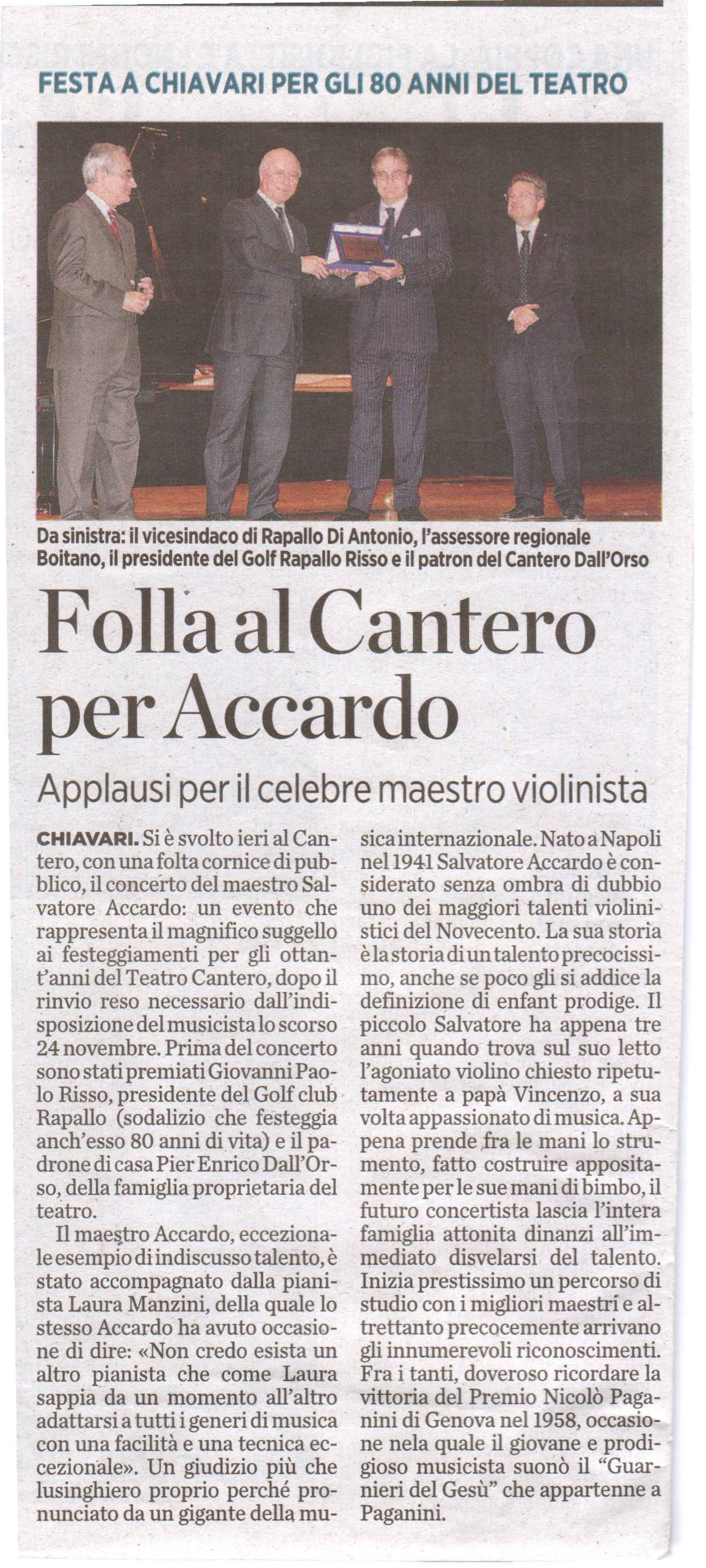 16.12.2011 – IL SECOLO XIX – Salvatore Accardo in Concerto