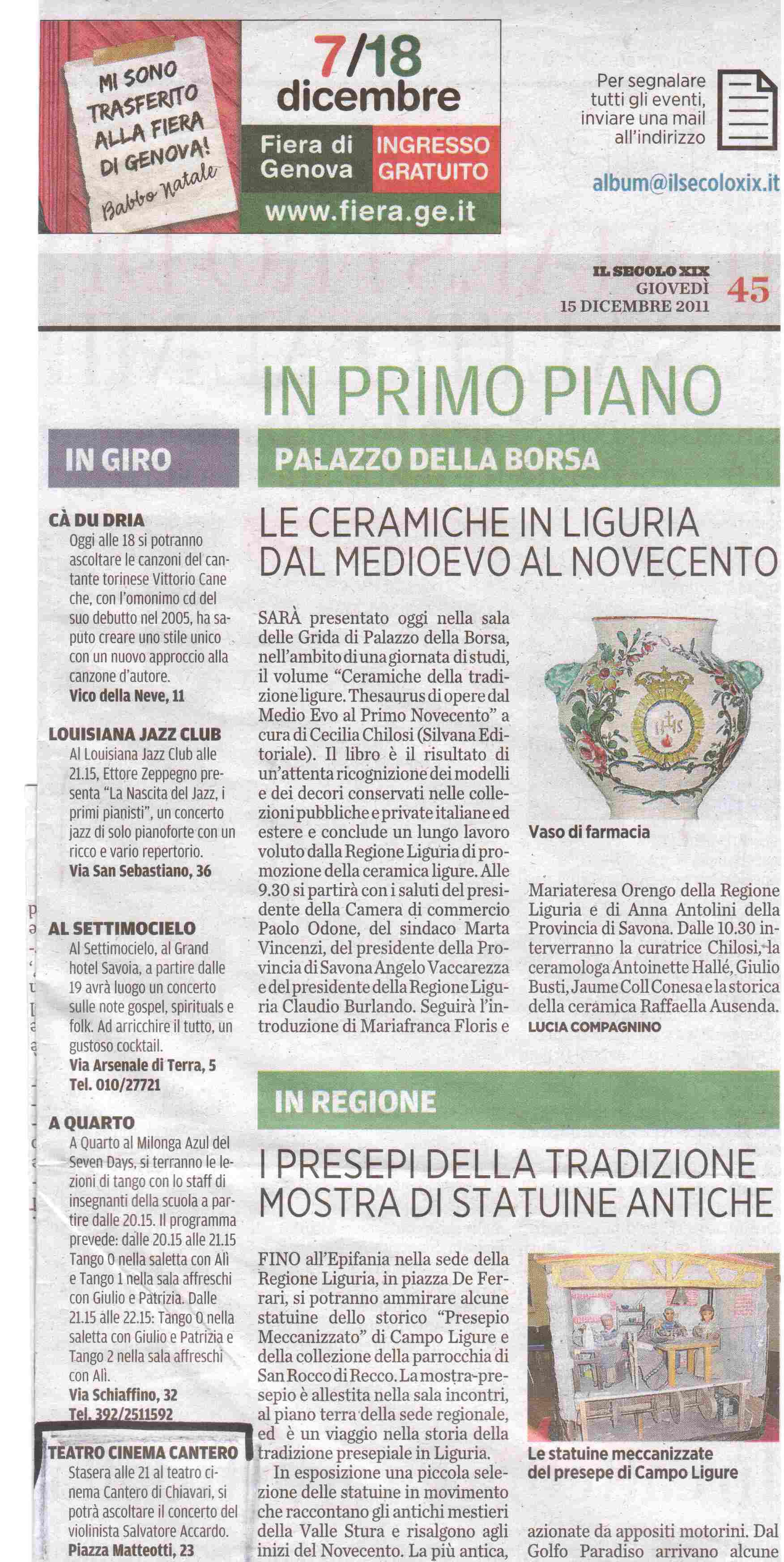 15.12.2011 – IL SECOLO XIX – Salvatore Accardo in Concerto
