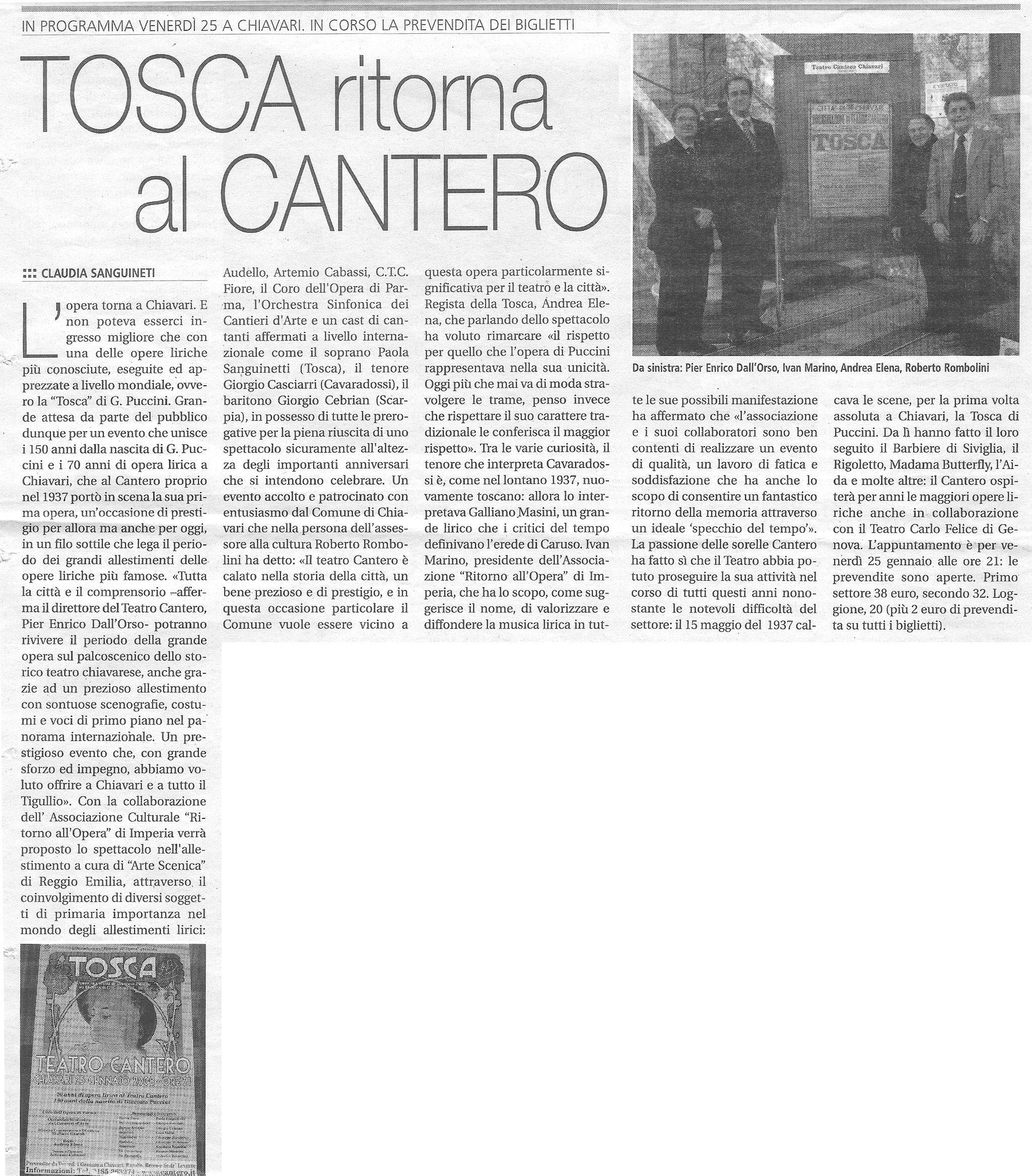 18.01.2008 – IL NUOVO LEVANTE – Tosca
