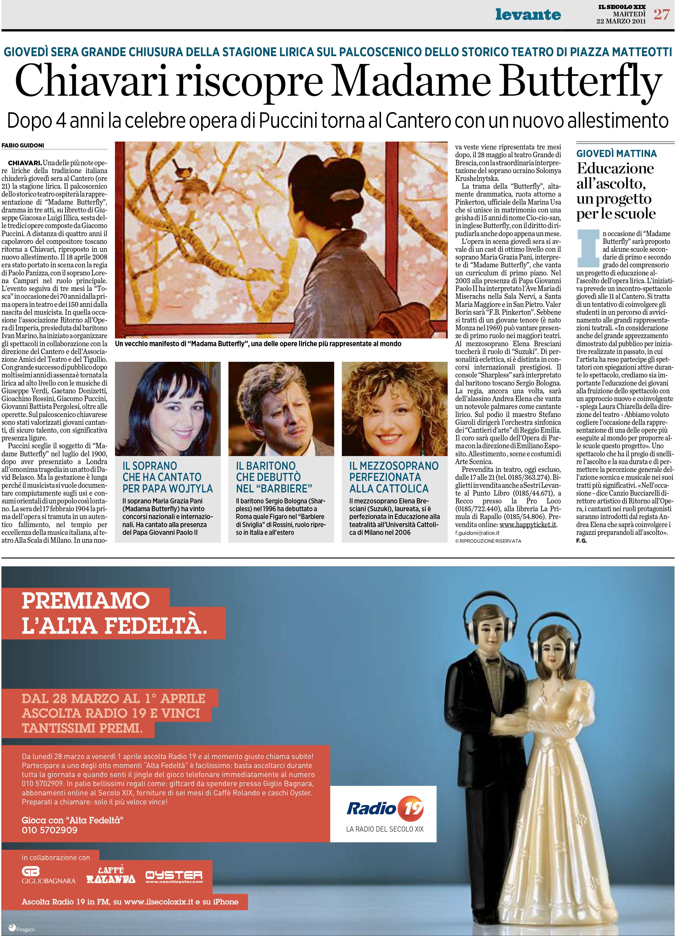 22.03.2011 – IL SECOLO XIX – Madama Butterfly