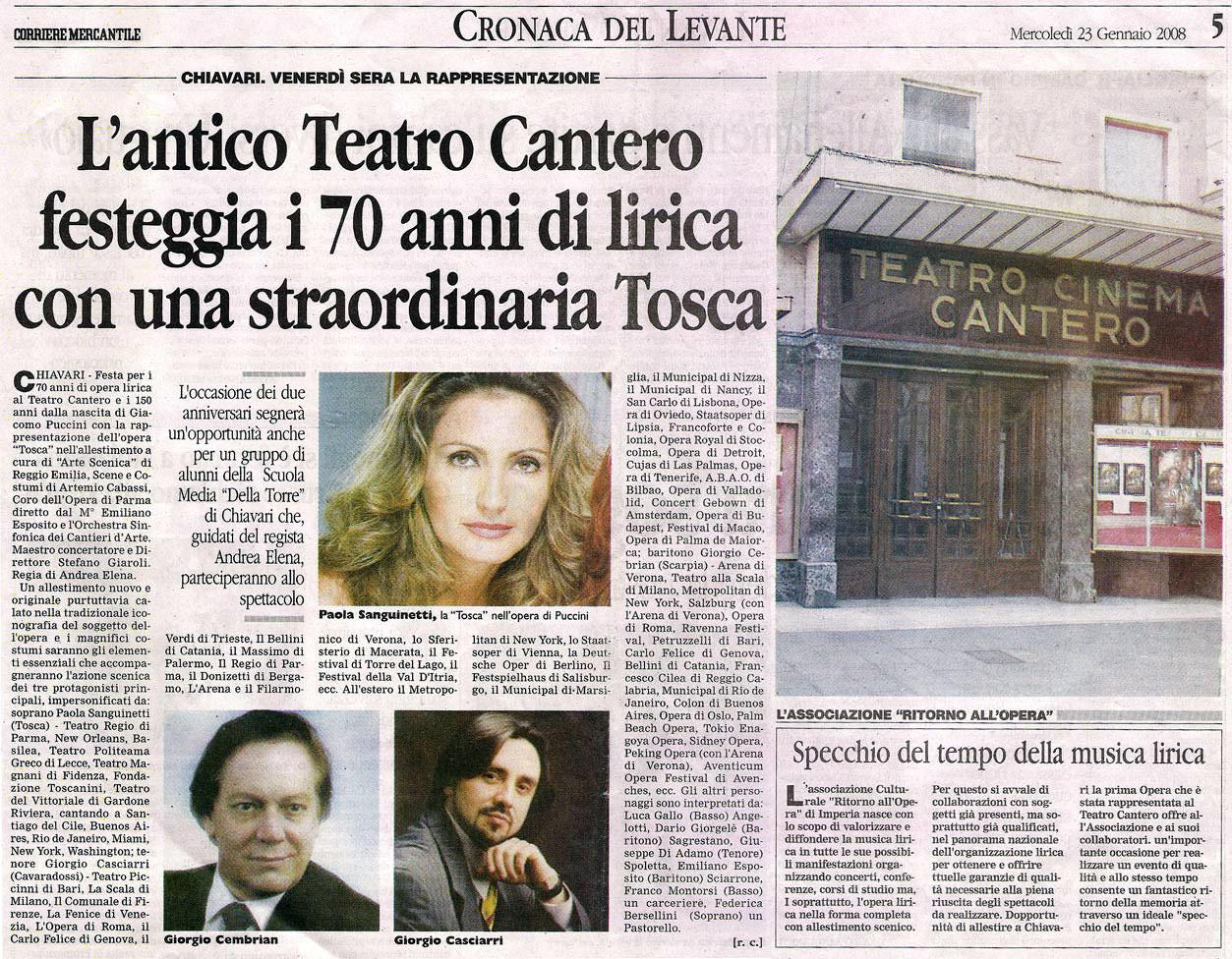 23.01.2008 – CORRIERE MERCANTILE – Tosca