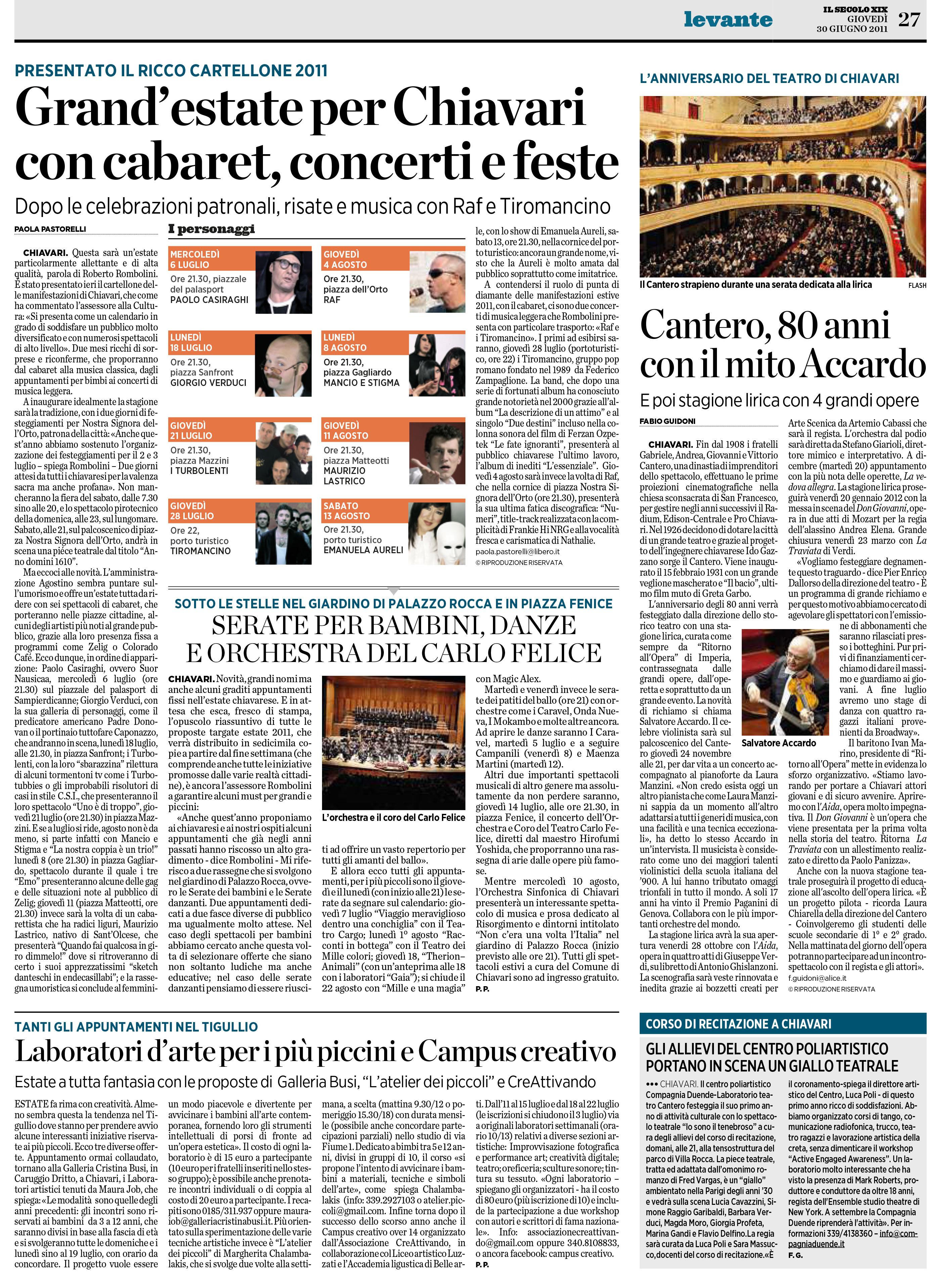 30.06.2011 – IL SECOLO XIX – Stagione Teatro Cantero 2011-12